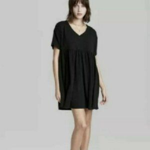 Womens Short Sleeve Babydoll Sweatshirt Dress - Wild Fable Black Size M NWT Cute